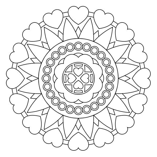Hearts Mandala For Kids To Color