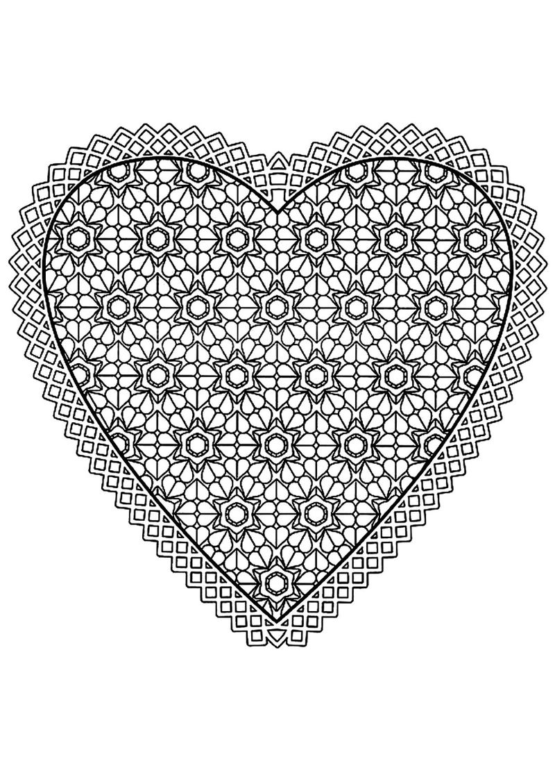 Hearts Pattern Coloring Page For Adults