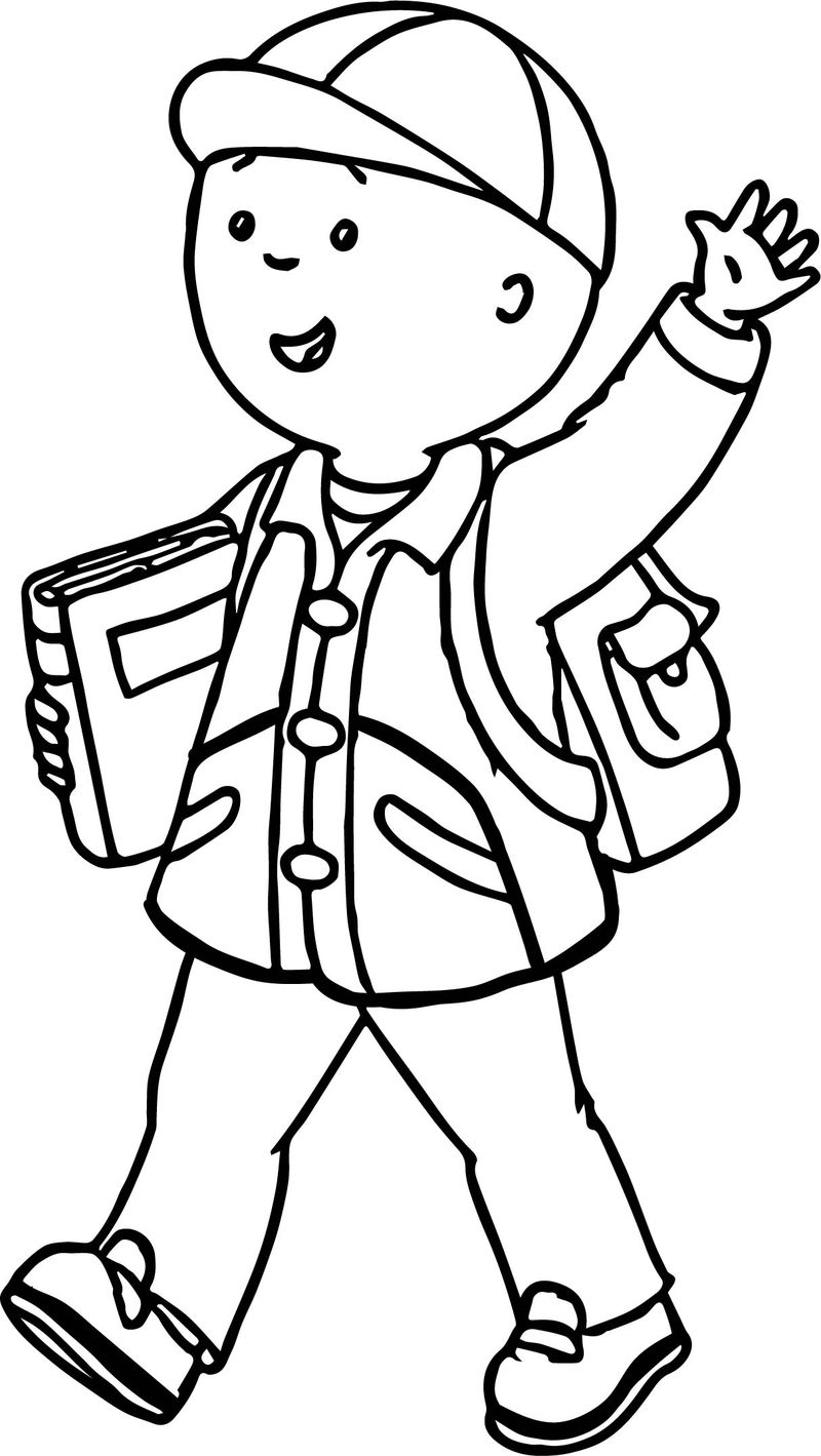 Hello Caillou Going To School Coloring Page