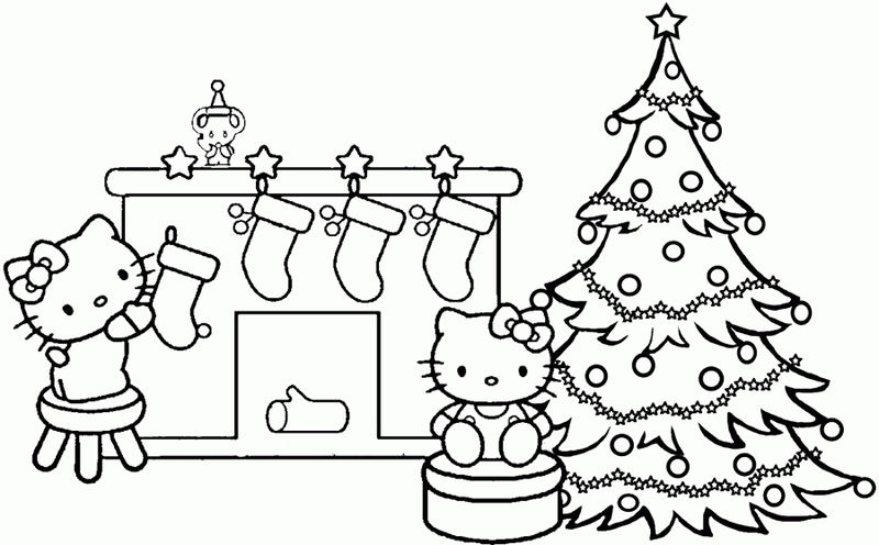 Hello Kitty Christmas Stocking Coloring Page 001 Coloring