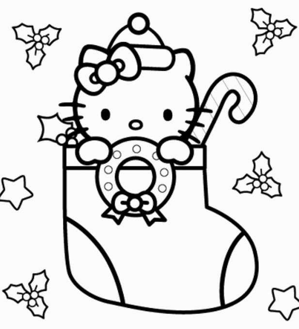 Hello Kitty Christmas Stocking Coloring Pages