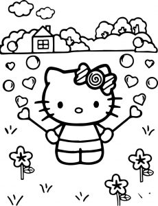 Hello kitty playing at street coloring page