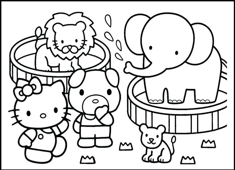 Hello Kitty Zoo Animals Coloring Page