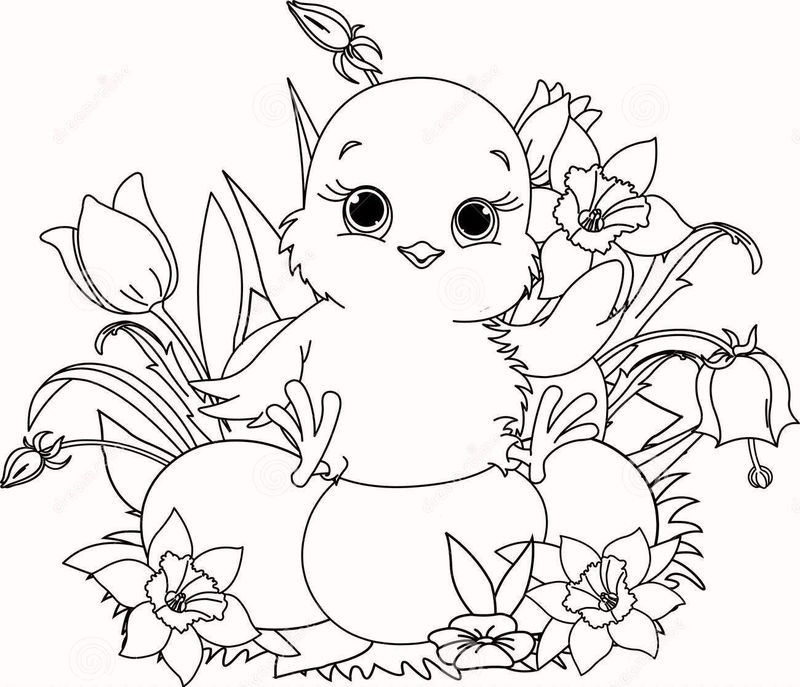 High Resolution Happy Easter Chick Coloring Page To Print