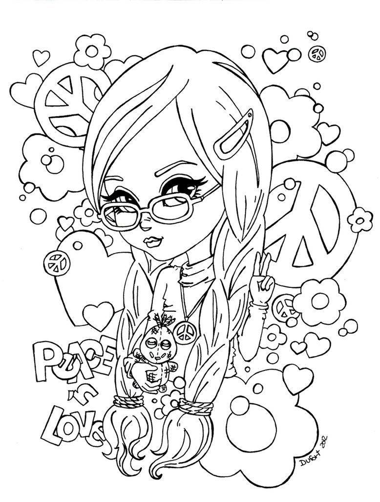 Hippy Girl Peace Coloring Page For Teens