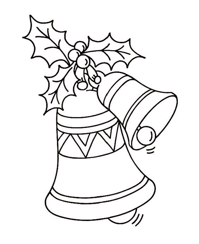 Holly And Bell Christmas Coloring Page 1
