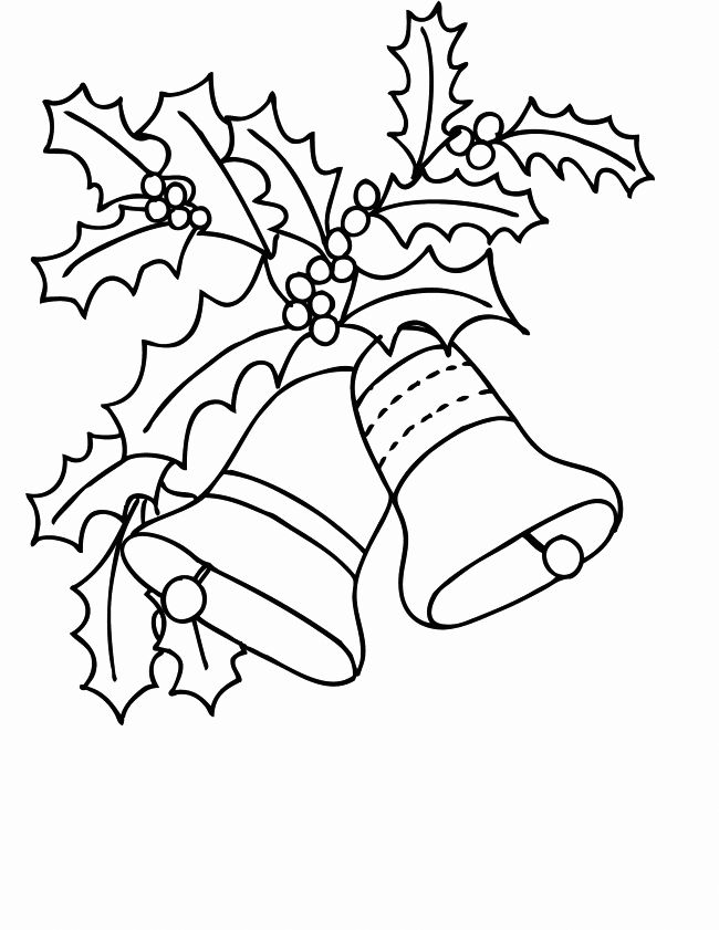 Holly And Bells Christmas Coloring Page
