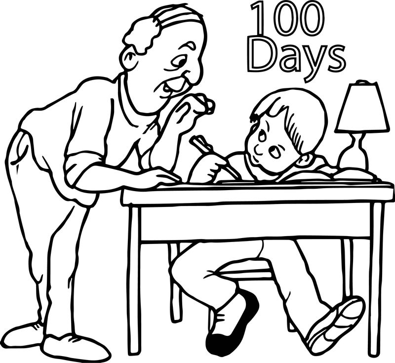 Homework 100 Days Coloring Page