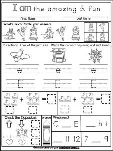 Homework for kindergarten worksheets fun