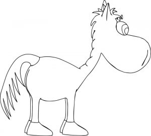 Horse cartoon side coloring page