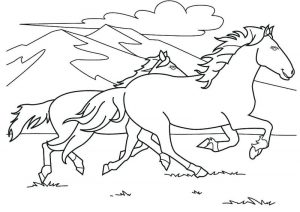 Horses running in mountains coloring page
