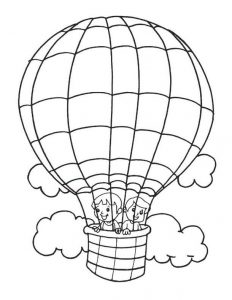 Hot air balloons happy coloring