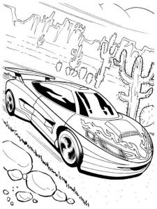 Hot wheels racing car coloring and activity page