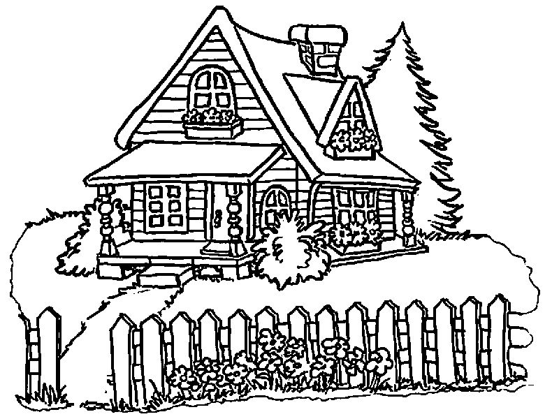 House Cartoon Beautiful Coloring Page