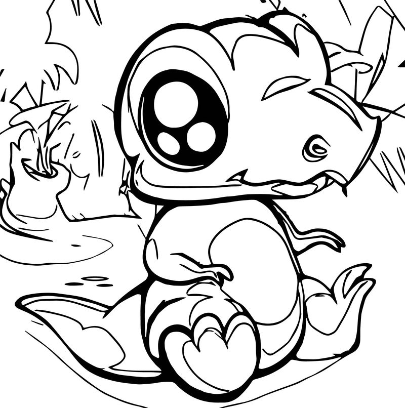 How To Draw A Cute Dinosaur Coloring Page