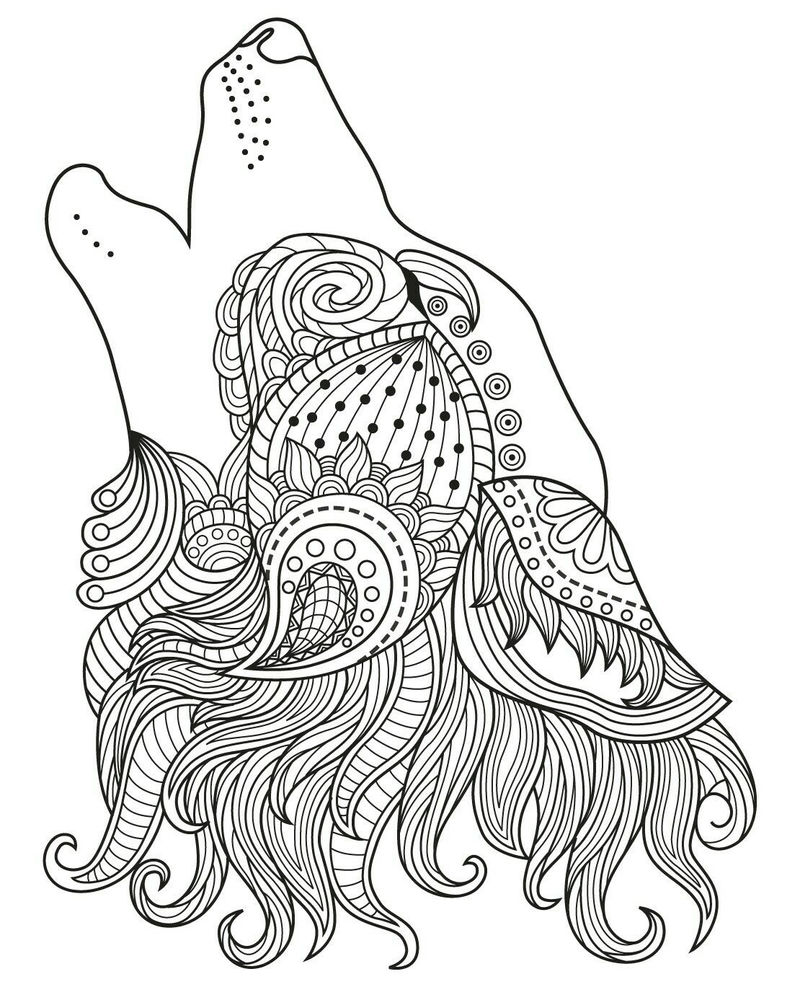 Howling Wolf Coloring Pages For Adults Coloring Sheets
