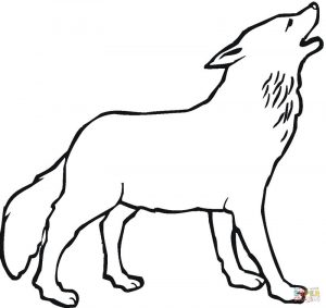 Howling wolf outline picture to color