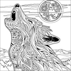 Howling zen wolf coloring pages for adults
