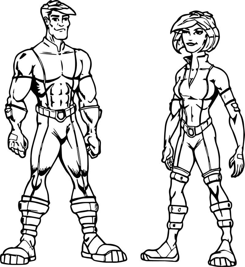 Hybrid Power Man And Woman Character Coloring Page