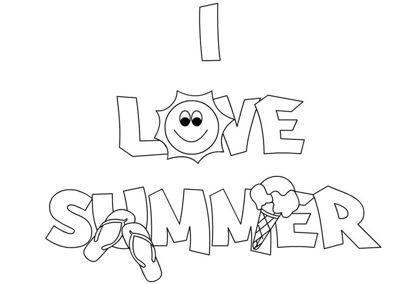 I Love Summer Coloring Pages