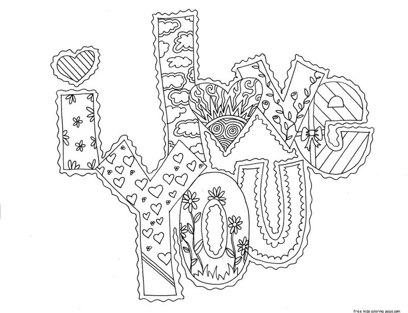 I Love You Adult Coloring Page