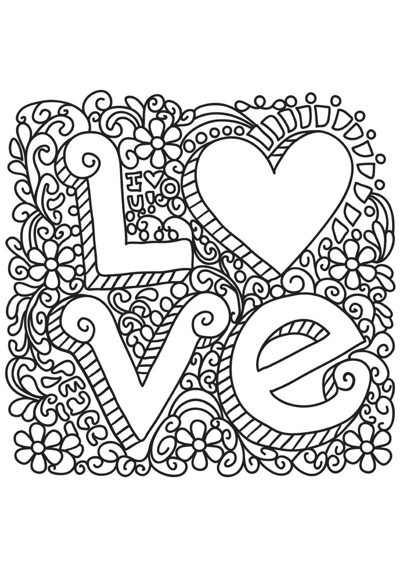 I Love You Heart And Flowers Coloring Page