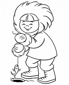 Ice fishing coloring pages 001