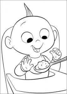 Incredibles coloring pages jack jack eating