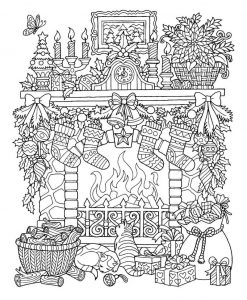 Indoor winter scene coloring page for adults