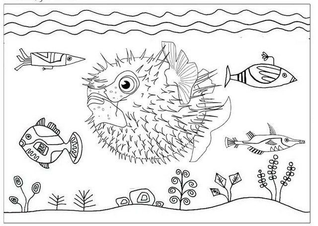 Inflated Puffer Fish Coloring Page Coloring Sheets
