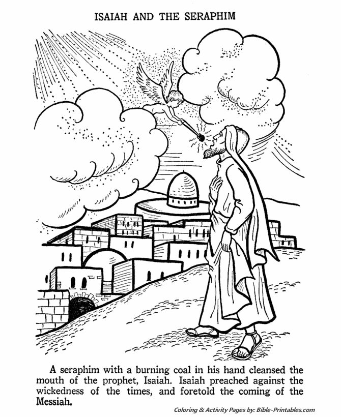 Isaiah And Serephim Bible Coloring Pages