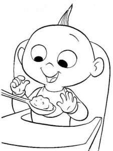 Jack jack the incredibles eating coloring pages