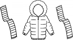 Jacket for winter and scarf two color coloring page