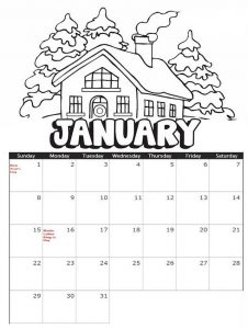 January calendar with winter theme coloring sheet