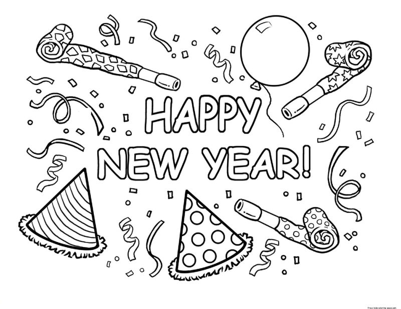 January Coloring Page Happy New Year