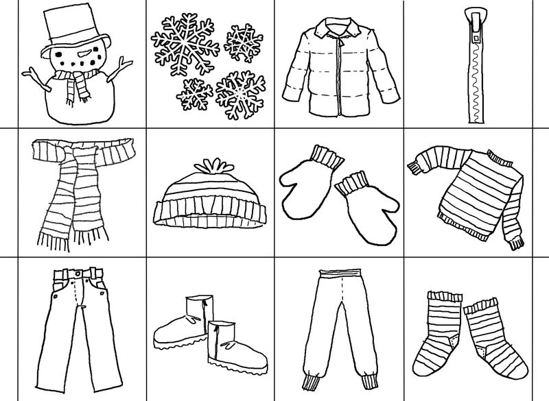 January Winter Clothes Coloring Page