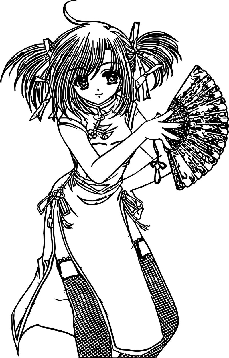 Japan Anime Girl Coloring Page Coloring Sheets