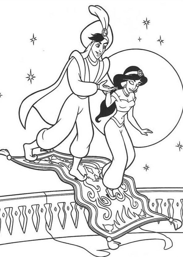 Jasmine Aladdin And Magic Carpet Coloring Pages