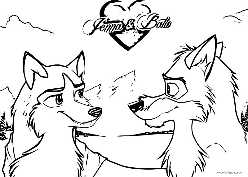 Jenna And Balto Love Look Wolf Coloring Page