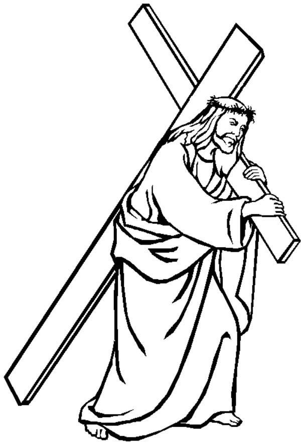 Jesus Carrying Cross Good Friday Coloring Page - Coloring ...