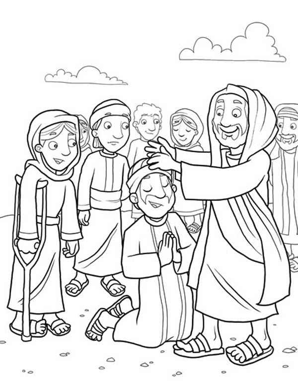 Jesus Heals The Sick Christian Bible Coloring Pages