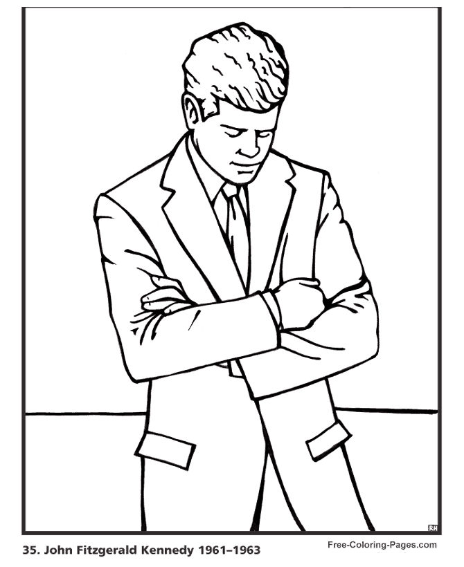 Jfk Presidents Day Coloring Page