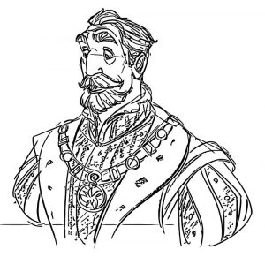 Jk king character design cartoonized coloring page