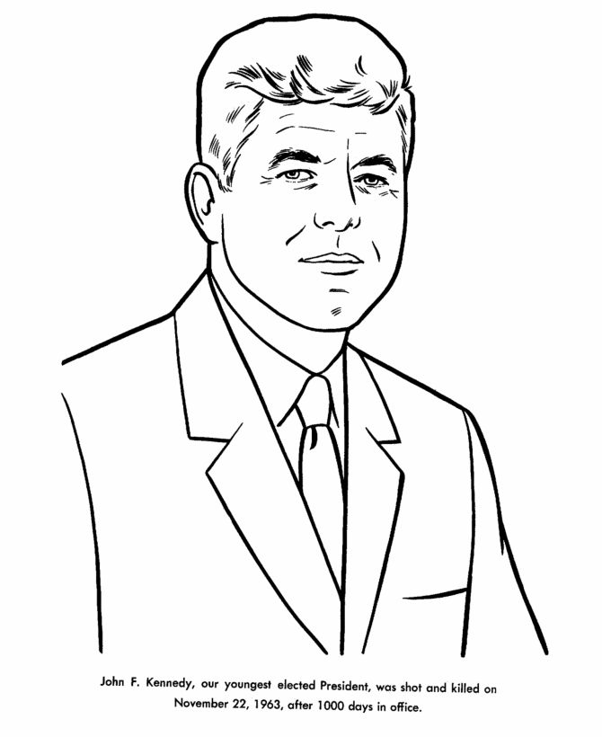 John F Kennedy Presidents Day Coloring Pages