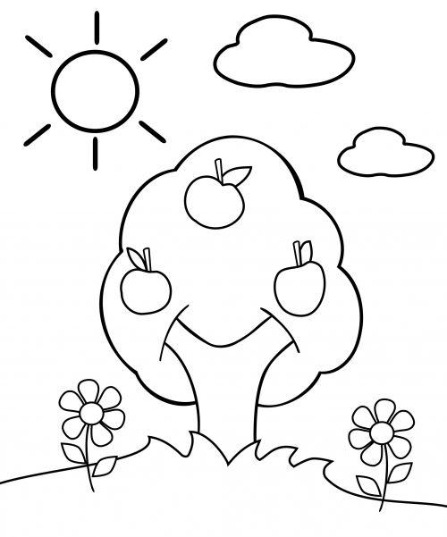 Johnny Appleseed Apple Tree Coloring Pages - Coloring Sheets
