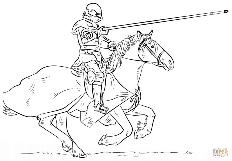 Joust On Horse Coloring Page