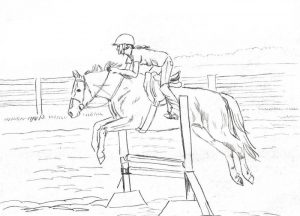 Jumping horse in action to picture to color