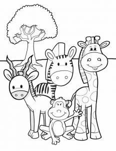 Jungle animal best friends coloring page