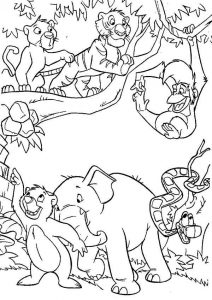 Jungle book coloring page characters