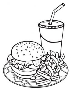 Junk Food Coloring Pages Fast Food Coloring Sheet